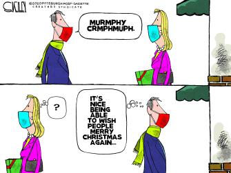 Editorial Cartoon U.S. Christmas COVID masks