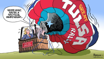 Political Cartoon U.S. Trump Tulsa rally crowd
