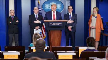 President Trump at a coronavirus task force hearing.