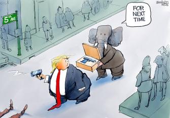 Political Cartoon U.S. Trump impeachment gop 5th avenue