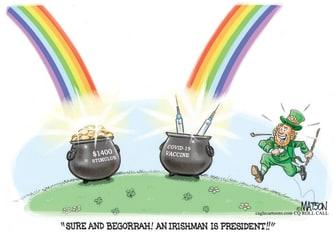 Editorial Cartoon U.S. st patricks day leprechaun covid