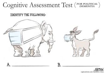 Political Cartoon U.S. masks GOP Democrats political dementia test