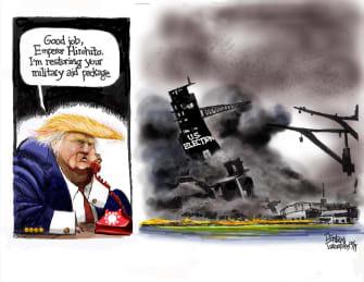 Political Cartoon U.S. Trump Japan Aid Pearl Harbor U.S. Election