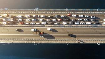 Traffic jam on a bridge.