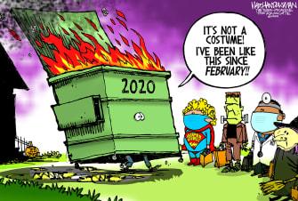 Editorial Cartoon U.S. 2020 dumpster fire Halloween
