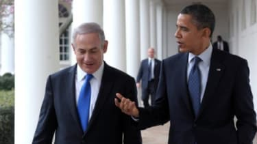 """Israel Prime Minister Benjamin Netanyahu and President Obama: On Monday, Netanyahu told the Israel lobby that when it comes to taking action against Iran, """"none of us can afford to wait much"""