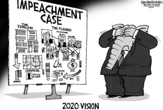 Political Cartoon U.S. Trump GOP impeachment denial evidence
