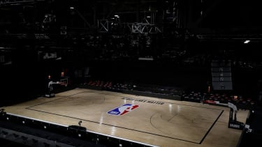 An empty arena is seen as all NBA playoff games were postponed today during the 2020 NBA Playoffs at AdventHealth Arena at ESPN Wide World Of Sports Complex on August 27, 2020 in Lake Buena V