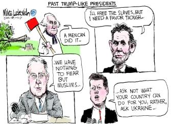 Political Cartoon U.S. Trump Washington Lincoln Kennedy Roosevelt