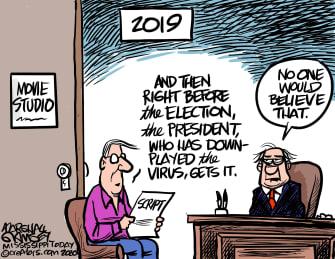 Editorial Cartoon U.S. Trump COVID movie script