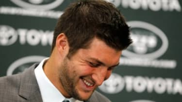 No need to be embarrassed, Tim Tebow: Everyone knows you're going to the nail salon for foot health, not primping.