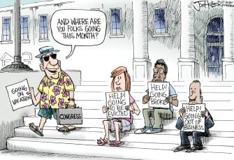 Political Cartoon U.S. Congress vacation covid crises