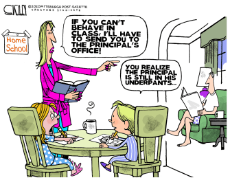 Editorial Cartoon U.S. school work from home discipline