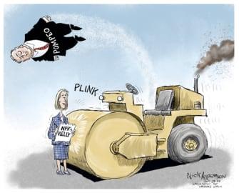 Political Cartoon U.S. NPR Mary Kelly Mike Pompeo interview