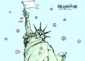 Editorial Cartoon U.S. Statue of Liberty coronavirus surrender