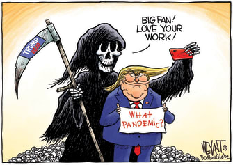 Political Cartoon U.S. Trump COVID death