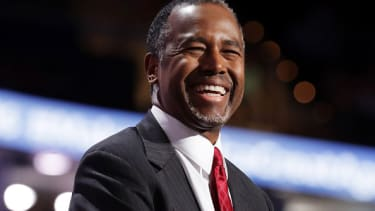 Ben Carson grins at the Republican National Convention.