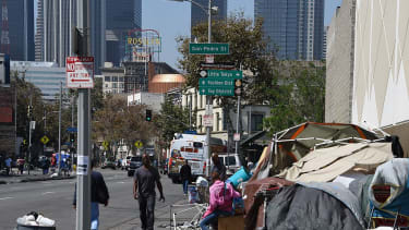 Homeless people in downtown Los Angeles.