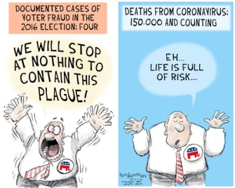 Political Cartoon U.S. GOP voter fraud coronavirus