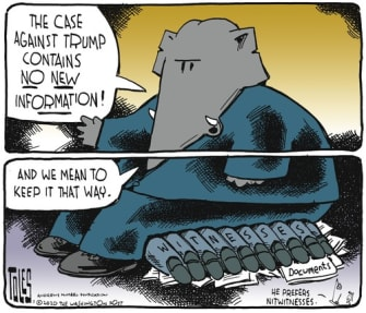 Political Cartoon U.S. Republicans sitting on new information Trump impeachment
