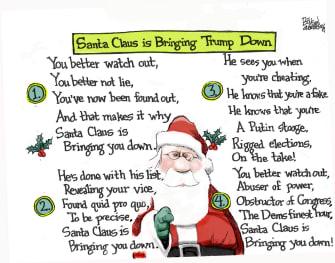 Political Cartoon U.S. Santa Clauss Bringing Trump Down