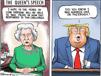 Political Cartoon U.S. Queen address public brings comfort Trump Facebook trending