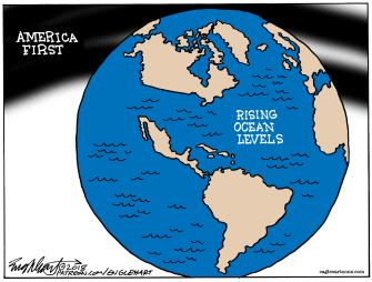 Political cartoon U.S. climate change denial America first Trump rising ocean levels