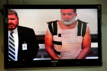 Robert Dear appearing before the judge via video feed on November 30, 2015