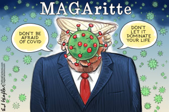 Political Cartoon U.S. Trump COVID Magritte