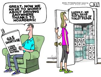 Editorial Cartoon U.S. toilet paper hoarding gas