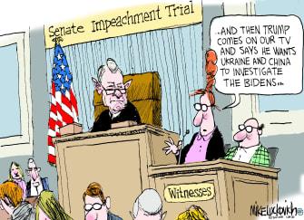 Political Cartoon U.S. Trump Roberts impeachment trial witnesses Ukraine China TV