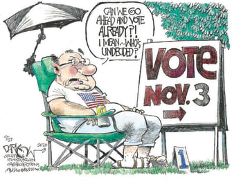 Political Cartoon U.S. November 3 Trump Biden undecided vote