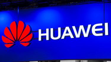 The Huawei logo in Barcelona