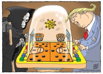 Political Cartoon U.S. Trump grim reaper coronavirus basketball