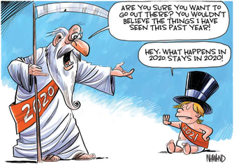 Editorial Cartoon U.S. What Happens in 2020 New Years Baby 2021