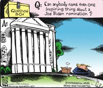 Political Cartoon U.S. Joe Biden motivation campaign question box Trump 2020 election