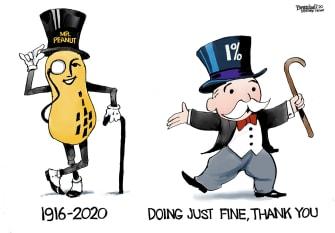 Editorial Cartoon U.S. Mr. Peanut 1 percent