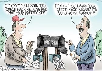 Political Cartoon U.S. Republicans Democrats government check send back coronavirus Trump