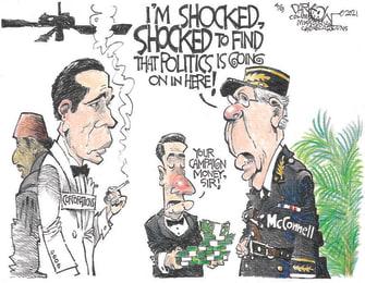 Political Cartoon U.S. mcconnell corporate donations casablanca