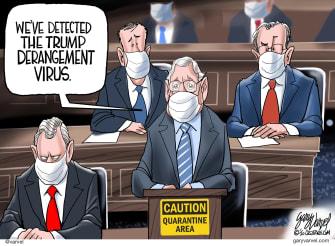 Political Cartoon U.S. Trump impeachment coronavirus