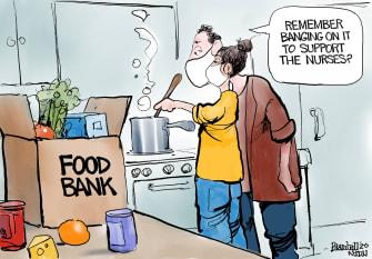 Editorial Cartoon U.S. COVID food bank essential workers