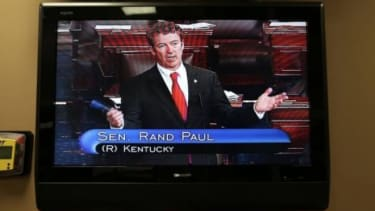 Rand Paul's marathon filibuster was the center of attention on Wednesday night.