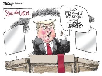 Political Cartoon U.S. Trump SOTU Bill Clinton Ukraine relations