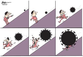 Editorial Cartoon World Coronavirus snowballing