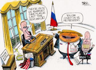 Political Cartoon U.S. Trump Putin Giuliani 2020