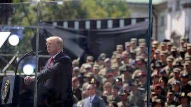 Trump delivers a speech in Warsaw.