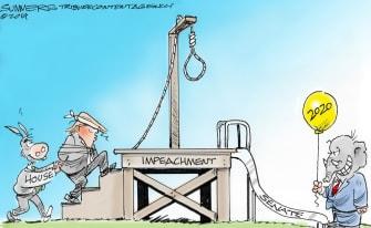Political Cartoon U.S. House Democrats Trump Hanging Senate Republicans 2020 Prize