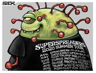 Editorial Cartoon U.S. superspreader covid events