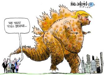 Political Cartoon U.S. Trump Godzilla Republicans trust abuse of power destruction