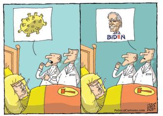 Political Cartoon U.S. Trump Biden loss COVID